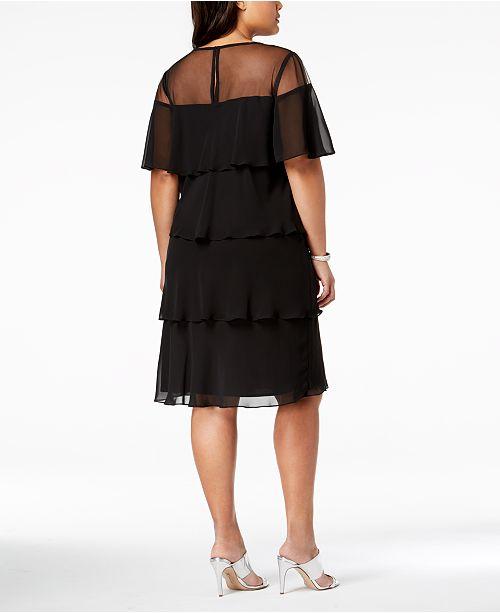 0d1c5e4bc5c Sl Fashions Plus Size Embellished Tiered Keyhole Dress Dresses