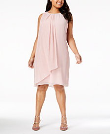 SL Fashions Plus Size Chiffon-Overlay Embellished Shift Dress