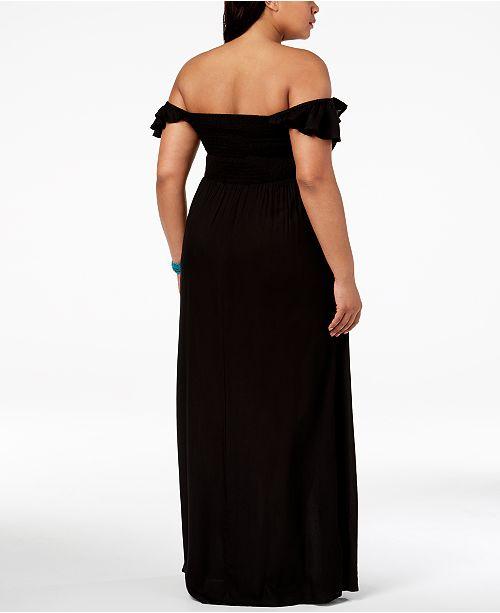 109855bb1f51c Raviya Plus Size Off The Shoulder Maxi Dress Cover Up Swimwear