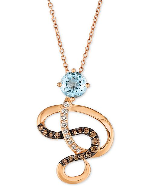 "Le Vian Sea Blue Aquamarine® (5/8 ct. t.w.) & Diamond (1/4 ct. t.w.) Swirl 18"" Pendant Necklace in 14k Rose Gold"