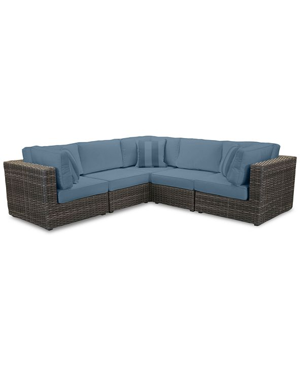 Furniture Viewport Outdoor 5-Pc. Modular Seating Set (3 Corner Units and 2 Armless Units) with Custom Sunbrella® Cushions, Created for Macy's
