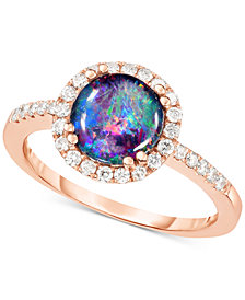 Opal Triplet (8mm) & Diamond (1/3 ct. t.w.) Halo Ring in 14k Rose Gold