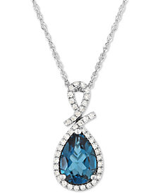 "London Blue Topaz (2-1/5 ct. t.w.) & Diamond (1/5 ct. t.w.) 18"" Pendant Necklace in 14k White Gold"