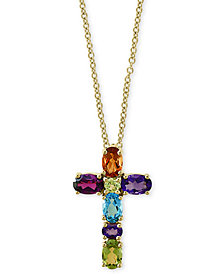 "EFFY® Multi-Gemstone Cross 18"" Pendant Necklace (2-7/8 ct. t.w.) in 14k Gold"