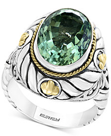 Balissima by EFFY® Green Amethyst Statement Ring (5-9/10 ct. t.w.) in Sterling Silver & 18k Gold
