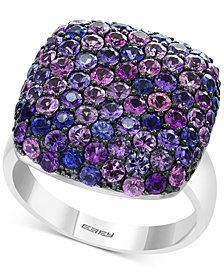 Splash by EFFY® Purple Sapphire Pavé Square Statement Ring (3-1/4 ct. t.w.) in Sterling Silver