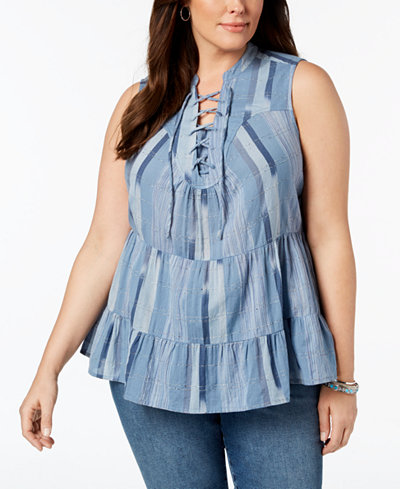 Style & Co Plus Size Cotton Striped Lace-Up Ruffled Top, Created for Macy's