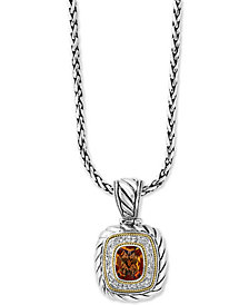 "EFFY® Citrine (2-7/8 ct. t.w.) & Diamond (1/5 ct. t.w.) 18"" Pendant Necklace in Sterling Silver & 18k Gold"