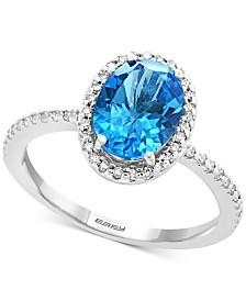 EFFY® Blue Topaz (2-1/4 ct. t.w.) & Diamond (1/4 ct. t.w.) Ring in 14k White Gold