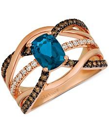Le Vian® Nude™ Deep Sea Blue Topaz™ (1-3/8 ct. t.w.) & Diamond (1/2 ct. t.w.) Ring in 14k Rose Gold