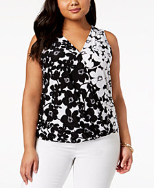 I.N.C. Plus Size Floral-Print Surplice Tank Top, Created for Macy's