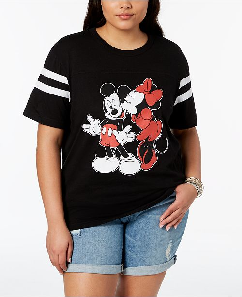 586b28371975a Disney Plus Size Mickey & Minnie Mouse Kiss T-Shirt & Reviews - Tops ...