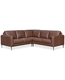Maida 3-Pc. Leather Sectional with Loveseats