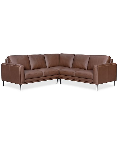 Enjoyable Closeout Maida 3 Pc Leather Sectional With Loveseats Pabps2019 Chair Design Images Pabps2019Com