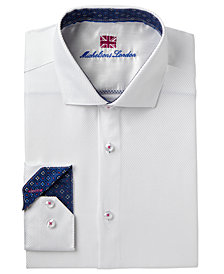 Michelsons of London Men's Slim-Fit Performance Twill Texture Dress Shirt