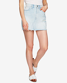 1.STATE Cotton Ripped Denim Mini Skirt