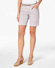 Lee Platinum Petite Belted Stretch Denim Shorts