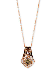 "Le Vian Chocolatier® Diamond Halo 18"" Pendant Necklace (5/8 ct. t.w.) in 14k Rose Gold"