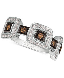 Le Vian Chocolatier® Diamond Square Cluster Statement Ring (1/2 ct. t.w.) in 14k White Gold