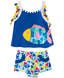 Rare Editions Baby Girls 2-Pc. Fish Tank Top & Shorts Set