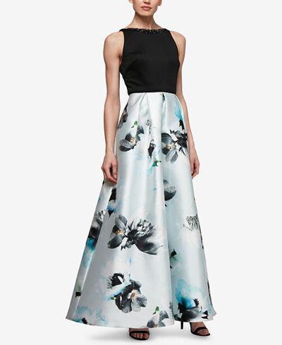 SL Fashions Printed Mikado Satin Gown