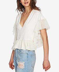 1.STATE Ruffled Contrast V-Neck Top
