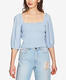 1.STATE Blouson-Sleeve Smocked Top