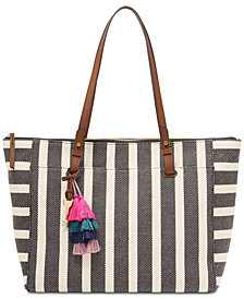 Fossil Stripe Rachel Zipper Large Tote