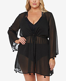 Jessica Simpson Plus Size Tie-Front Tasseled Kimono  Cover-Up
