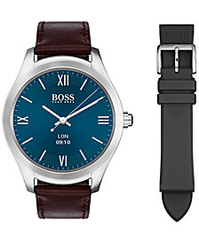 BOSS Hugo Boss Men's Digital Touch Brown Leather Strap Touchscreen Smart Watch 46mm