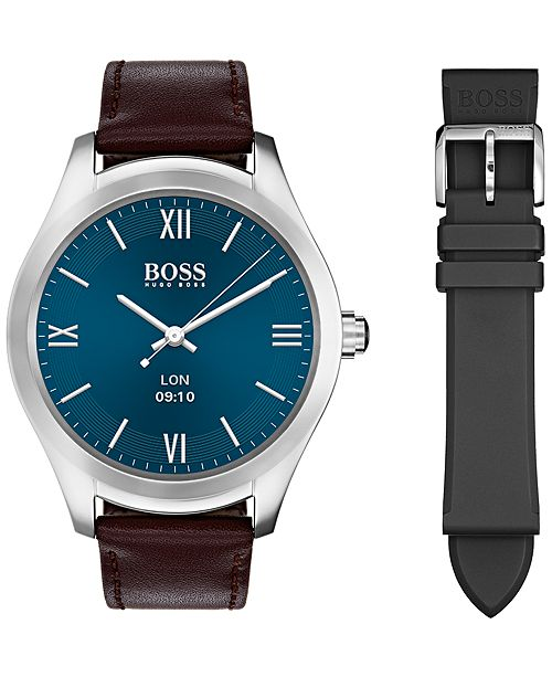 10d63ad08 ... BOSS Hugo Boss Men's Digital Touch Brown Leather Strap Touchscreen  Smart Watch ...