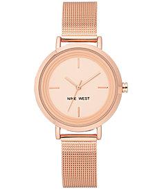 Nine West Women's Rose Gold-Tone Stainless Steel Mesh Bracelet Watch 34mm