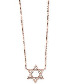 """Gift by EFFY® Diamond Accent Star of David 18"""" Pendant Necklace in 14k Rose Gold"""