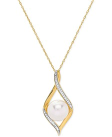 "Cultured Freshwater Pearl (9 mm) & Diamond Accent 18"" Pendant Necklace in 14k Gold"