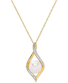 "Honora Cultured Freshwater Pearl (9 mm) & Diamond Accent 18"" Pendant Necklace in 14k Gold"