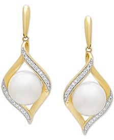 Cultured Freshwater Pearl (8 mm) & Diamond (1/10 ct. t.w.) Drop Earrings in 14k Gold