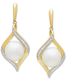 Honora Cultured Freshwater Pearl (8 mm) & Diamond (1/10 ct. t.w.) Drop Earrings in 14k Gold