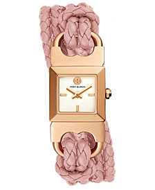 Tory Burch Women's Double T-Link Pink Leather Double Wrap Strap Watch 18x18mm