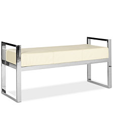 Maysen Faux Leather Bench, Quick Ship