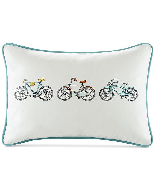 "HipStyle Cruz 14"" x 20"" Bicycle Embroidered Oblong Decorative Pillow"