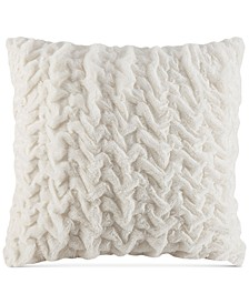 "Hand-Ruched 25"" Square Faux-Fur European Decorative Pillow"