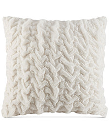 "Madison Park Hand-Ruched 25"" Square Faux-Fur European Decorative Pillow"
