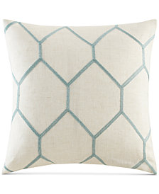 """Madison Park Brooklyn 20"""" Square Metallic Geo-Embroidered Decorative Pillow Pair"""