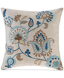 "Madison Park Spring Florals 20"" Square Embroidered Decorative Pillow"