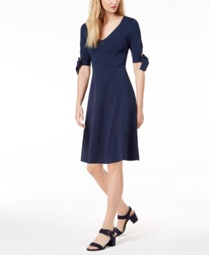 Image of 525 America Petite Bow-Sleeve Fit & Flare Dress, Created for Macy's