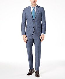 HUGO Men's Modern-Fit Medium Blue Sharkskin Suit