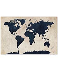 "Michael Tompsett 'World Map -Navy' Canvas Art - 47"" x 30"""