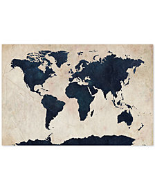 "Michael Tompsett 'World Map - Navy' 30"" x 47"" Canvas Art Print"