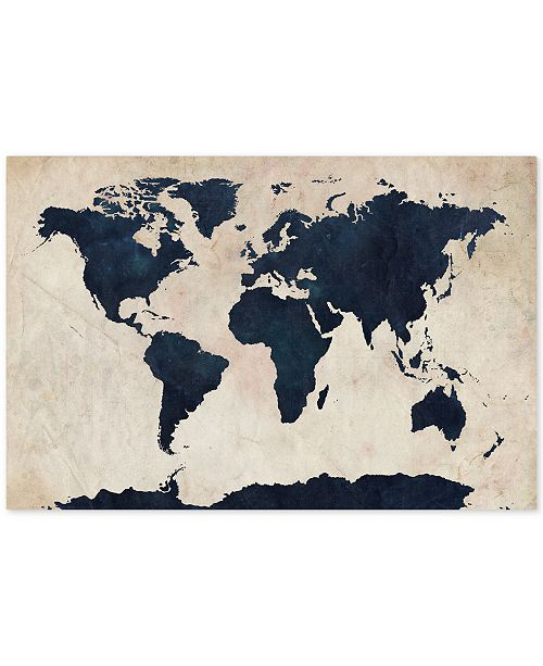 "Trademark Global Michael Tompsett 'World Map -Navy' Canvas Art - 47"" x 30"""