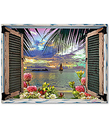 "Leo Kelly Tropical 'Window to Paradise III' 35"" x 47"" Canvas Art Print"